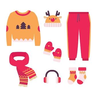 Conjunto de ropa de invierno de diseño plano