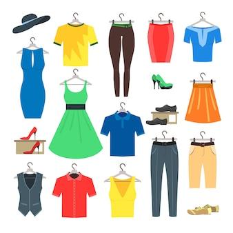 Conjunto de ropa de mujer y hombre.
