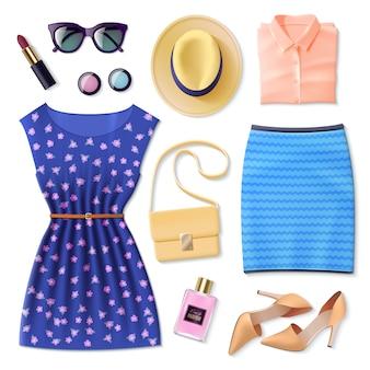 Conjunto de ropa de mujer plana