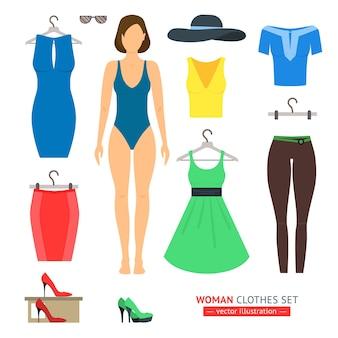 Conjunto de ropa de niña o mujer.