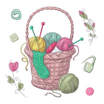 Un conjunto de ropa tejida de punto de agujas de punto. dibujo a mano