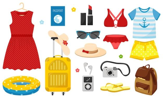Un conjunto de ropa de verano y cosas para las vacaciones de verano.