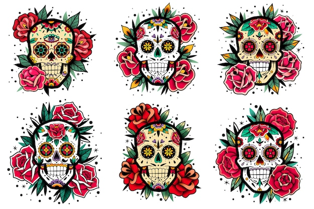 Conjunto de rosas de la vieja escuela de calavera mexicana