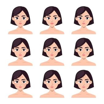 Conjunto de rostros femeninos con líneas de cirugía plástica.