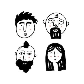 Conjunto de rostros humanos que expresan emociones positivas rostros humanos con amplias sonrisas conjunto de personas alegres