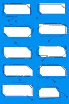 Un conjunto de rótulos digitales blancos, aislado en un fondo azul. plantillas de hud futuristas en varias formas. ilustración vectorial