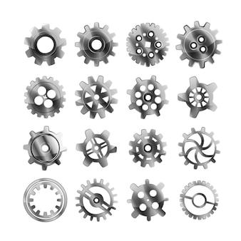 Conjunto de ruedas dentadas de metal brillante realistas en blanco