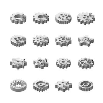Conjunto de ruedas dentadas de metal brillante en vista isométrica en blanco