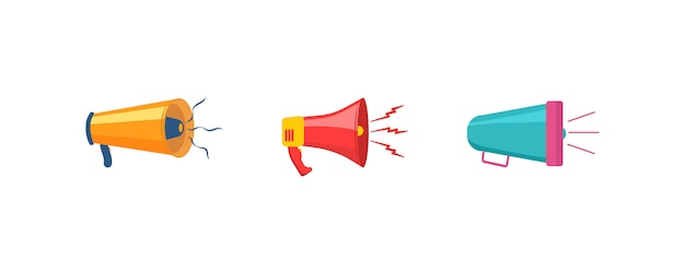 Conjunto de rupor colorido en diseño plano. altavoz, megáfono, icono o símbolo aislado sobre fondo blanco. concepto para redes sociales, promoción y publicidad.