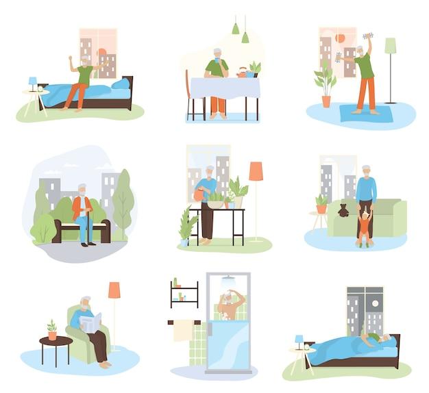 Conjunto de rutina diaria de un anciano. anciano haciendo deporte, caminando, jugando con su nieto, descansando. horario de anciano. ilustración en estilo de dibujos animados