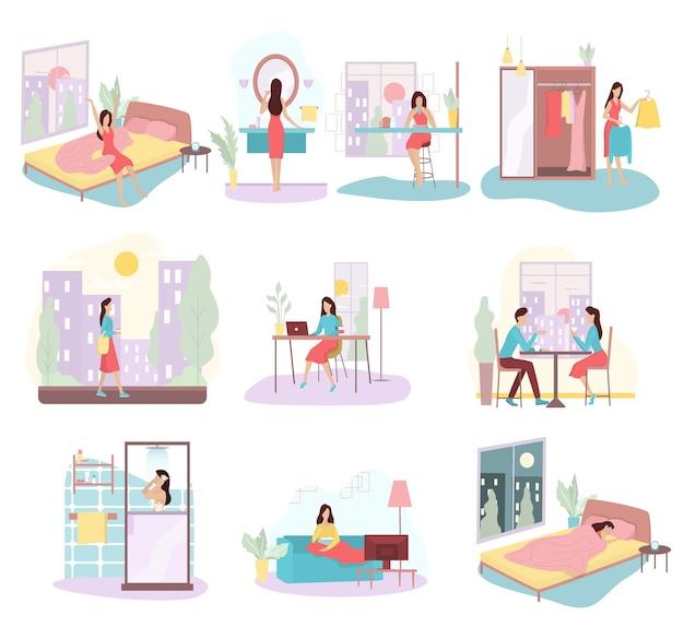 Conjunto de rutina diaria de una mujer. chica desayunando por la mañana, trabajando y durmiendo. horario de la empresaria. trabajando en la oficina en la computadora. ilustración en estilo de dibujos animados