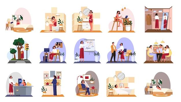 Conjunto de rutina diaria de una mujer. chica desayunando por la mañana, trabajando y durmiendo. horario de la empresaria. trabajando en la oficina en la computadora. ilustración