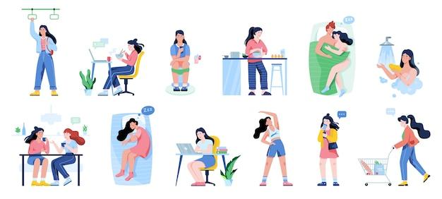 Conjunto de rutina diaria de una mujer. chica desayunando por la mañana, trabajando y durmiendo. horario de empresario. trabajando en la oficina en la computadora. ilustración con estilo