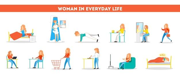 Conjunto de rutina diaria de una mujer. chica desayunando