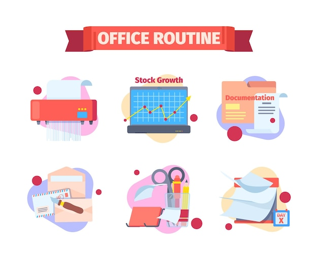 Conjunto de rutina de trabajo de oficina. momentos de trabajo de documentos de destrucción de horarios por trituradora que verifica el crecimiento de existencias infográficas en la computadora portátil que lee la documentación presentada.
