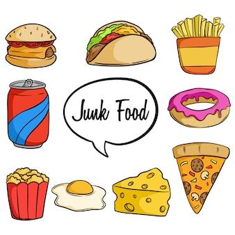 Conjunto de sabrosa comida chatarra con estilo dibujado a mano o doodle