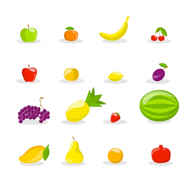 Conjunto de sabrosas frutas frescas. deliciosa manzana, plátano y granada. comida sana. ilustración