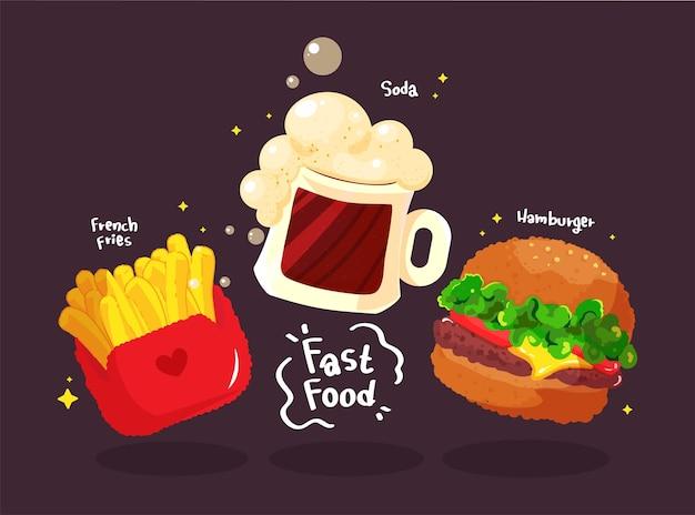 Conjunto sabroso de hamburguesa de comida rápida ilustración de arte de dibujos animados dibujados a mano