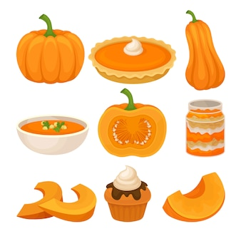 Conjunto de sabrosos platos de calabaza, calabaza fresca madura y comida tradicional de acción de gracias ilustración sobre un fondo blanco