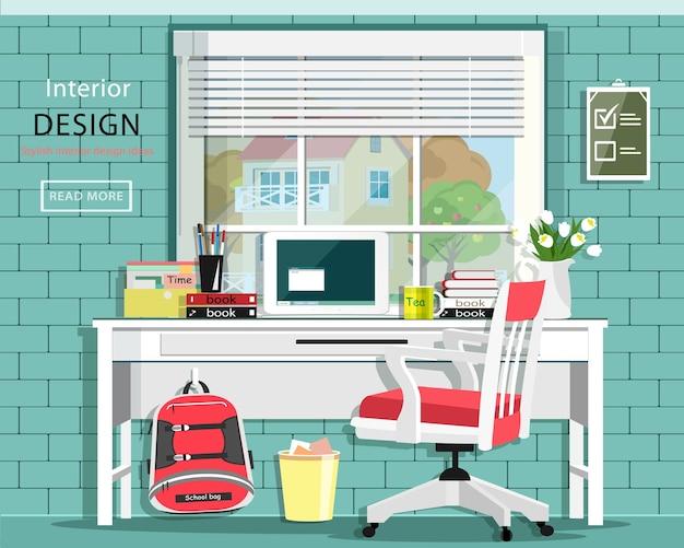 Conjunto de sala gráfica con escritorio, silla, ventana, bolso, libros, cuaderno.