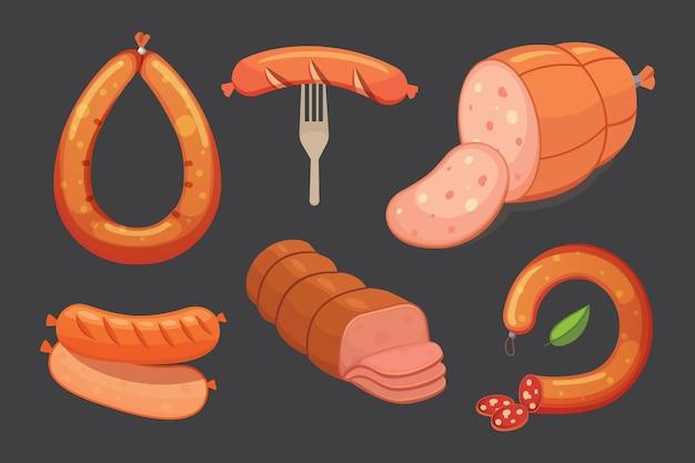 Conjunto de salchicha de dibujos animados. tocino, salami en rodajas y ahumado hervido.