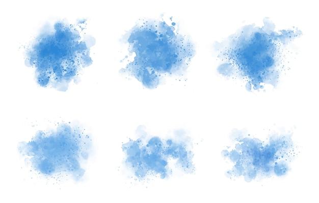 Conjunto de salpicaduras de acuarela azul abstracto