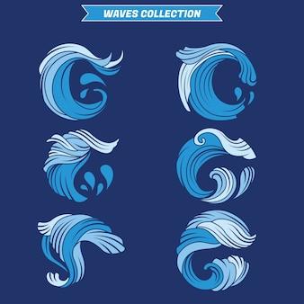 Conjunto de salpicaduras de agua o olas