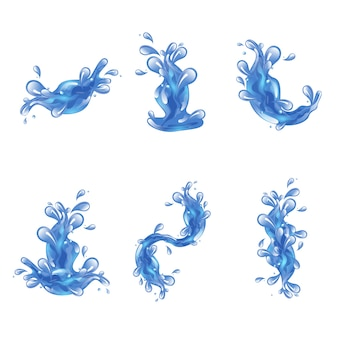 Conjunto de salpicaduras de agua