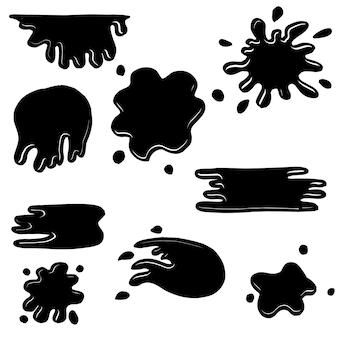 Conjunto de salpicaduras de blob dibujado a mano.