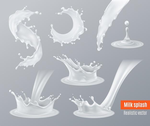 Conjunto de salpicaduras de leche realista