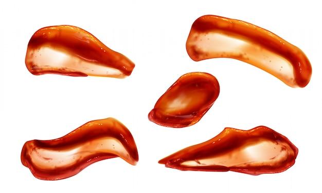 Conjunto de salpicaduras de salsa de tomate