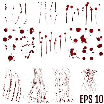 Conjunto de salpicaduras de sangre realistas. gota y gota de sangre. sangre
