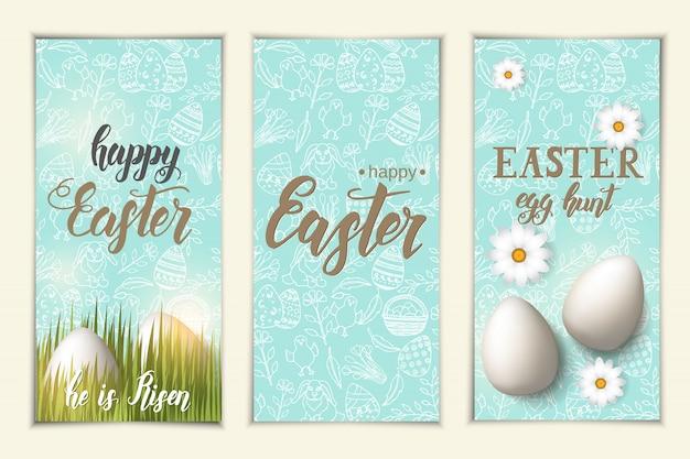 Conjunto de saludo pancartas de pascua. etiquetas con huevos en la hierba, letras de moda hechas a mano
