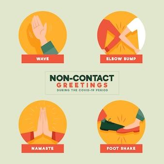 Conjunto de saludos sin contacto