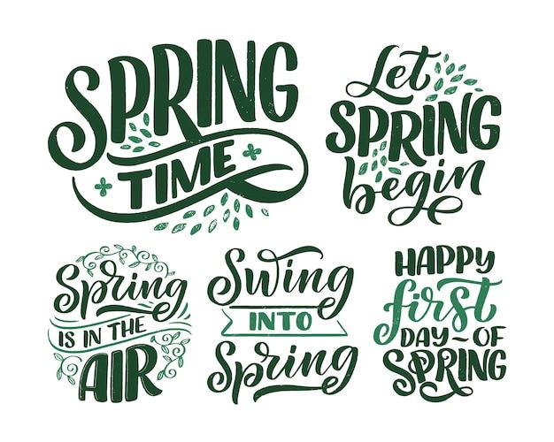 Conjunto con saludos de letras de tiempo de primavera