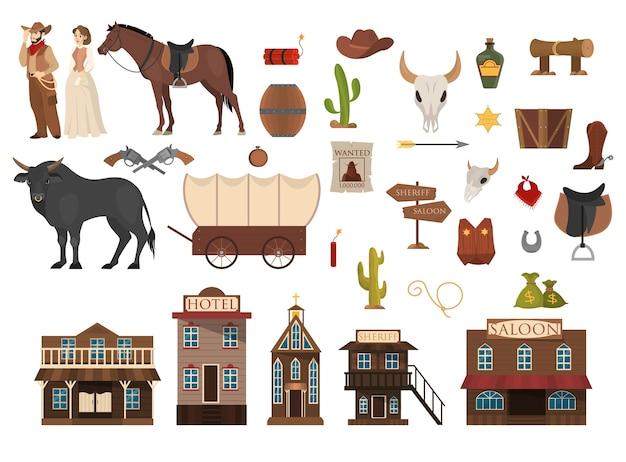 Conjunto del salvaje oeste. vaquero, cactus, caballo y vaca. salón