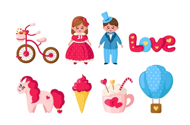 Conjunto de san valentín, dibujos animados kawaii niña y niño en ropa retro, animal lindo - unicornio, cosas románticas