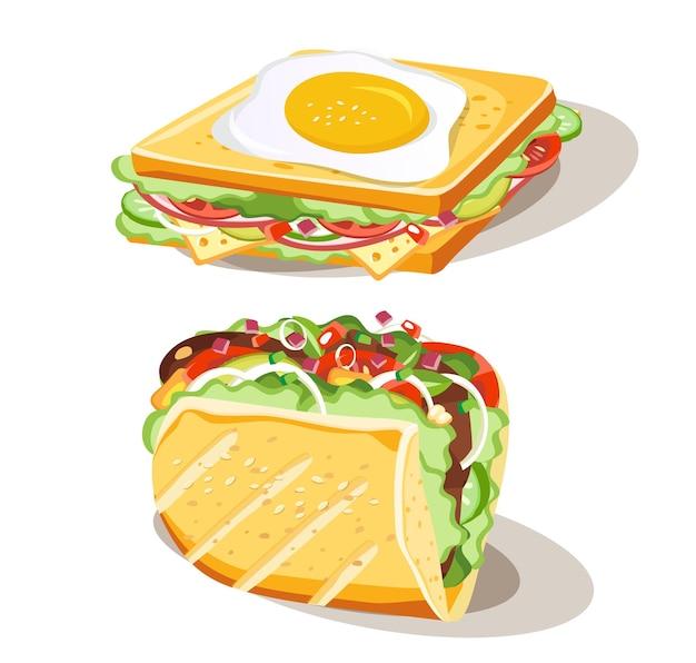 Conjunto de sándwich de desayuno de alimentos sobre fondo blanco, ilustración