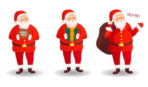 Conjunto de santa claus tarjeta de navidad. divertidos dibujos animados de santa claus con una enorme bolsa roja con regalos. santa claus para navidad