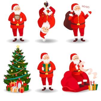 Conjunto de santa claus tarjeta de navidad.