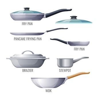 Conjunto de sartenes metálicas y utensilios de cocina.