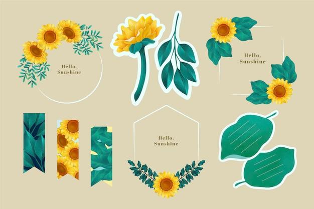 Conjunto de scrapbook y marcos con diseño de girasol