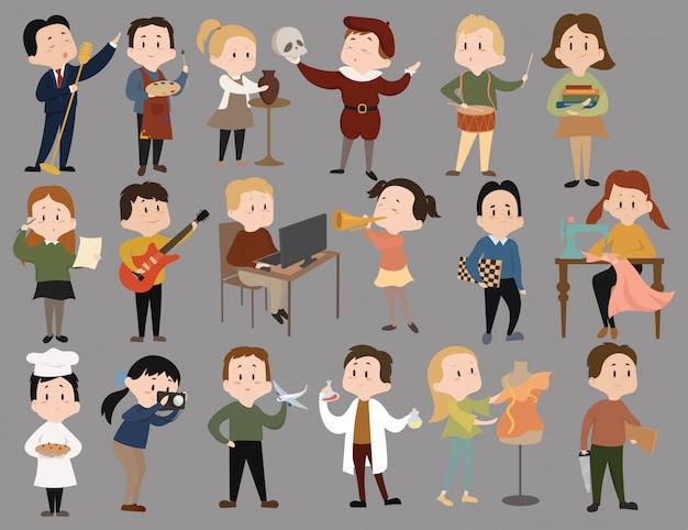Conjunto de secciones para niños. colección de niños lindos aprendiendo una profesión. personajes de caricatura.