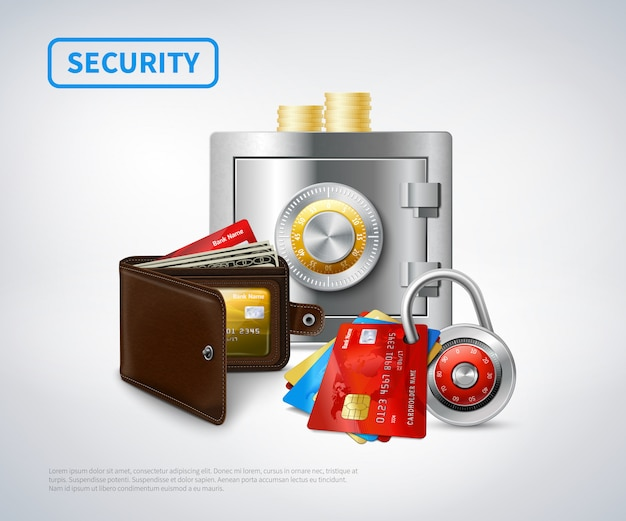 Conjunto de seguridad realista de dinero