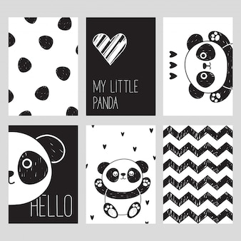 Un conjunto de seis cartas en blanco y negro con un lindo panda. mi pequeño panda. hola. estilo escandinavo.