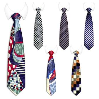 Conjunto de seis corbatas para trajes de hombre.