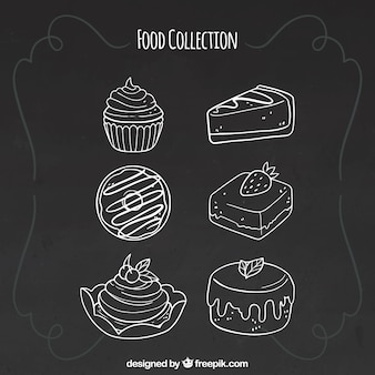 Conjunto de seis elementos de comida en estilo de pizarra