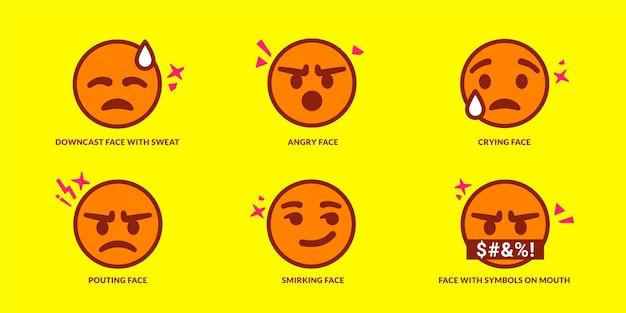 Conjunto de seis emoticonos lindos haciendo pucheros en amarillo