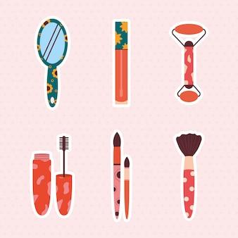 Conjunto de seis iconos cosméticos
