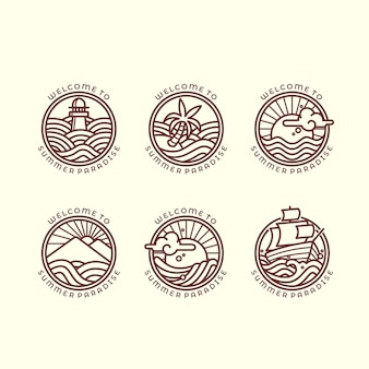 Conjunto de seis ilustraciones de contorno relacionadas con el mar y las olas diferentes para el logotipo de verano